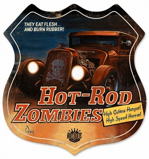 Hot Rod Zombies Metal Sign