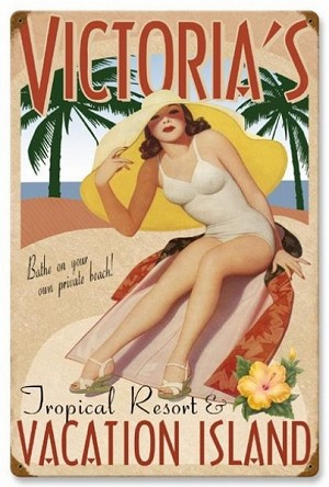Vacation Island Vintage Metal Sign