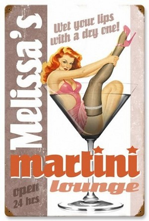 Martini Lounge Vintage Metal Sign