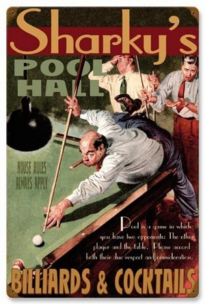 Pool Hall Vintage Metal Sign