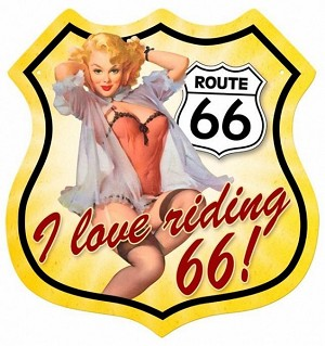 Route 66 Pinup Metal Sign