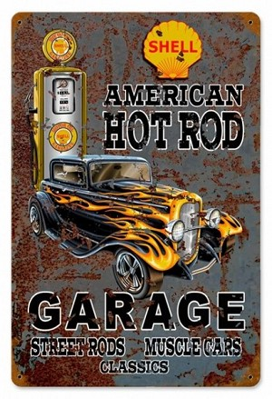 Hot Rod Shell Gas Vintage Metal Sign