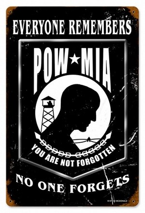 POW Black Vintage Metal Sign