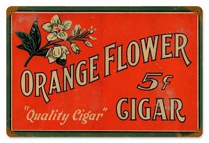 Orange Cigar Vintage Metal Sign