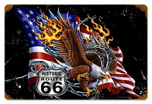 Eagle Flag 66 Vintage Metal Sign
