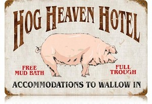 Hog Heaven Vintage Metal Sign