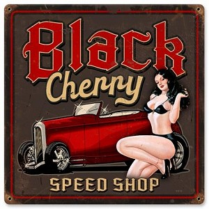 Black Cherry Vintage Metal Sign