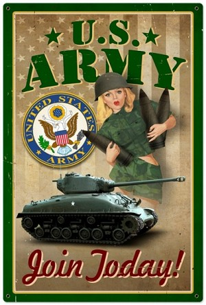 Army Pinup Metal Sign