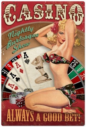 Casino Pinup Metal Sign