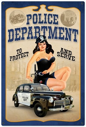 Police Department Pinup Metal Sign