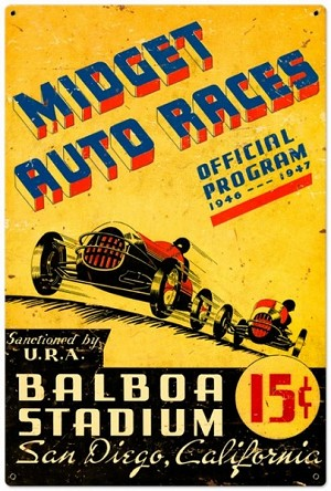 Midget Auto Races Metal Sign