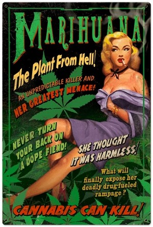 Marijuana Pinup Metal Sign