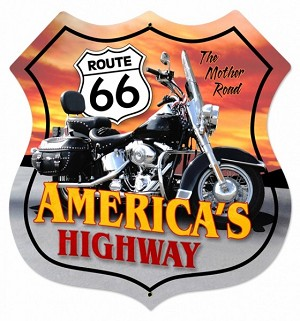 Route 66 Motorcycle Metal Sign