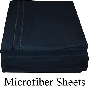 Black Color, Microfiber Sheets, Full Size,  Deep Pocket