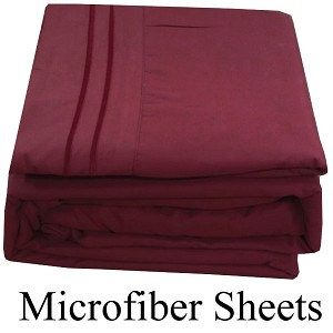 Burgundy Microfiber Sheets, Twin Size,  Deep Pocket