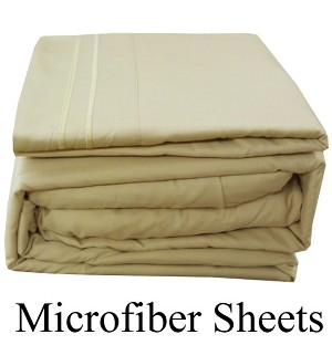Cream Microfiber Sheets, Twin Size,  Deep Pocket