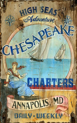Chesapeake High Seas Adventure Antiqued Wood Sign