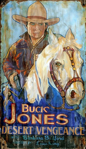 Personalized Buck Jones Desert Vengeance Antiqued Wood Sign