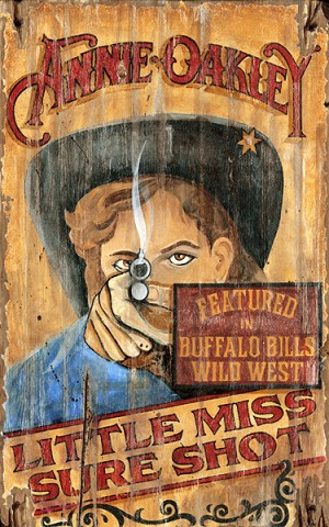 Personalized Anne Oakley Little Miss Sure Shot Antiqued Wood Sign