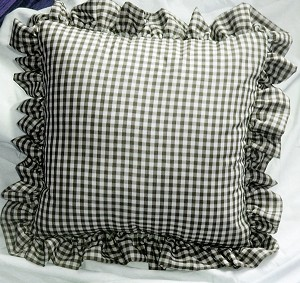 Black Gingham Ruffled or Corded Throw Pillows Stuffed Set of 2