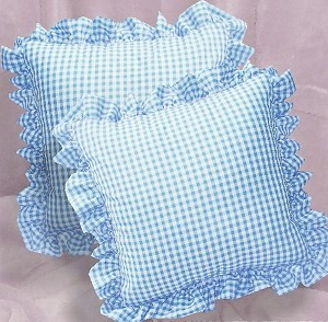 Blue Gingham Ruffled or Corded Throw Pillows Stuffed Set of 2
