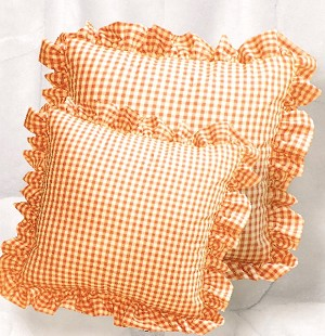 Orange Gingham Ruffled or Corded Throw Pillows Stuffed Set of 2