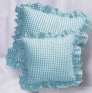 Turquoise Gingham Ruffled or Corded Throw Pillows Stuffed Set of 2