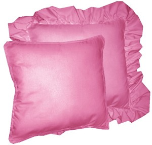 Hot Pink Fuchsia Solid Colored Ruffled or Corded Pillows Set of 2
