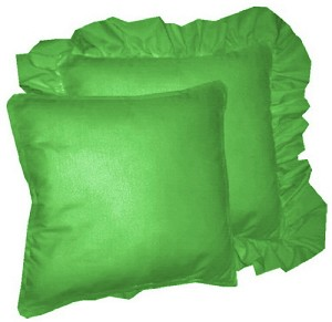 Kelly Green Solid Colored Ruffled or Corded Pillows Set of 2