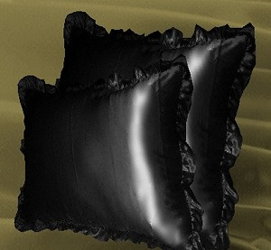 Black Satin Throw Pillows Ruffled and Stuffed Set of 2