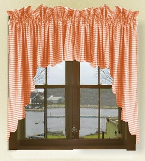 Orange Gingham Check Scalloped Window Swag Valance Set