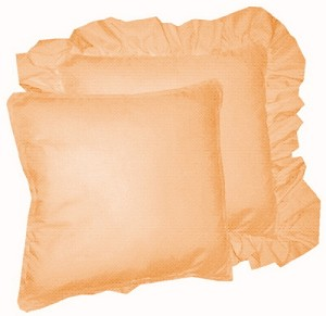 Peach Solid Colored Ruffled or Corded Pillows Set of 2