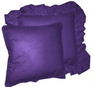 Purple Solid Colored Ruffled or Corded Pillows Set of 2