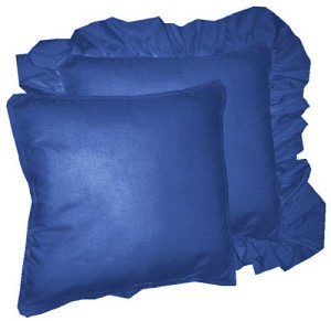 Royal Blue Solid Colored Ruffled or Corded Pillows Set of 2