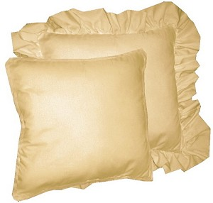 Tan Beige Solid Colored Ruffled or Corded Pillows Set of 2