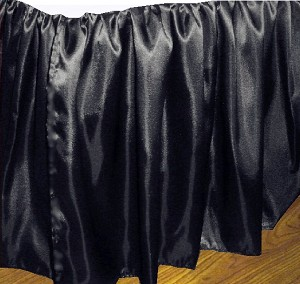 3/4 Three Quarter Black Satin Dustruffle Bedskirt