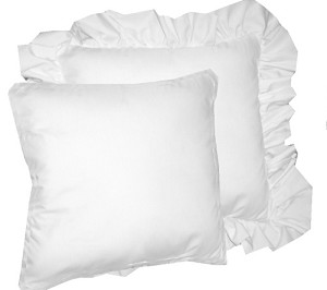 Bright White Solid Colored Ruffled or Corded Pillows Set of 2