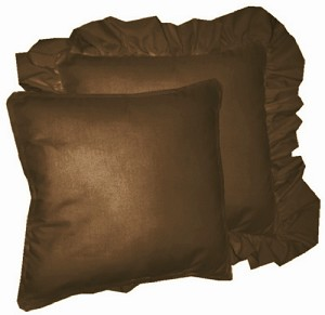Brown Solid Colored Ruffled or Corded Pillows Set of 2