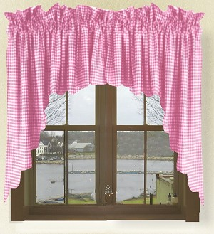 Fuchsia Hot Pink Gingham Check Scalloped Window Swag Valance Set