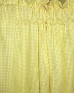Yellow Mini Gingham Check French Door Curtains