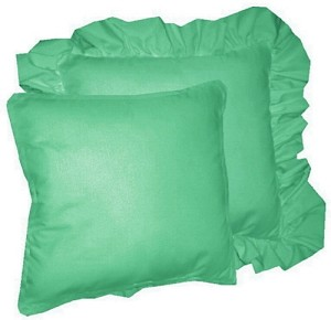 Jade Green Solid Colored Ruffled or Corded Pillows Set of 2