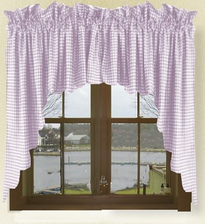 Light Purple Gingham Check Scalloped Window Swag Valance Set