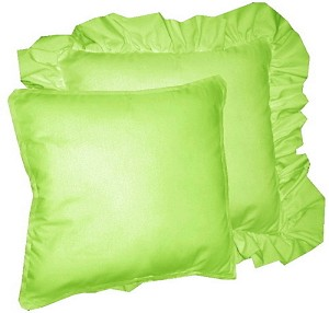 Lime Green Solid Colored Ruffled or Corded Pillows Set of 2