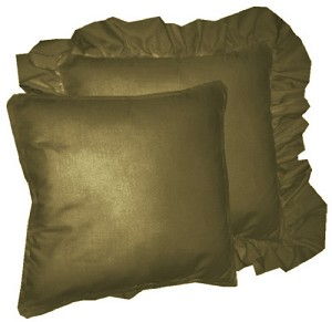 Olive Green Solid Colored Ruffled or Corded Pillows Set of 2