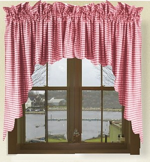 Red Gingham Check Scalloped Window Swag Valance Set