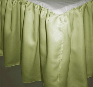 Twin XL Sage Green Satin Dustruffle Bedskirt