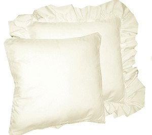 Off White Solid Colored Ruffled or Corded Pillows Set of 2