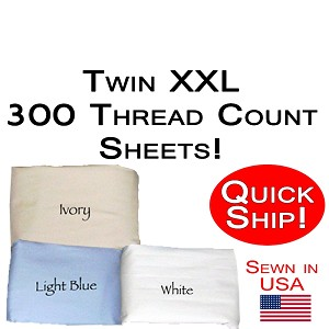 Quick Ship! Twin XXL Size 300 Thread Count Luxury Sheet Set