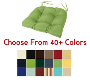 "Tufted Rounded Back Chair Cushion 18"" x 16"", CHOOSE YOUR COLOR"
