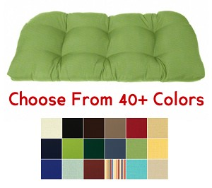 "Tufted Rounded Back Bench Cushion 46"" x 20"", CHOOSE YOUR COLOR"